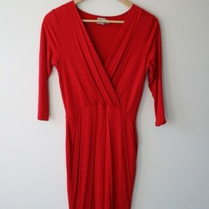 ASOS Pencil Dress with Wrap Front Red US 6